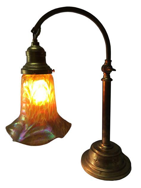 loetz iridescent glass  gilt bronze desk lamp art deco
