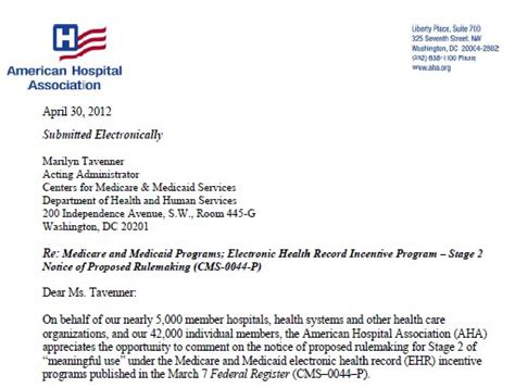 Hardship Letter For Meaningful Use Aha Challenges Proposed Stage 2 Rule