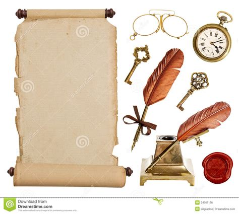 Vintage Accessories by Vintage Paper Scroll And Antique Accessories Stock Photo