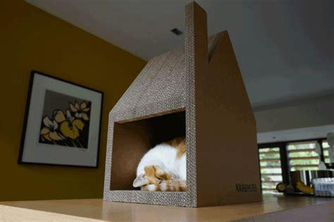 modernes katzenhaus aus pappe ersetzt erfolgreich den