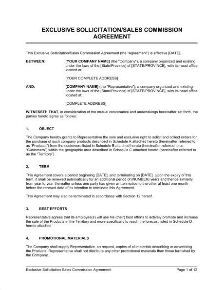 Exclusive Sollicitation Sales Commission Agreement Template Sle Form Biztree Com Commission Split Agreement Template