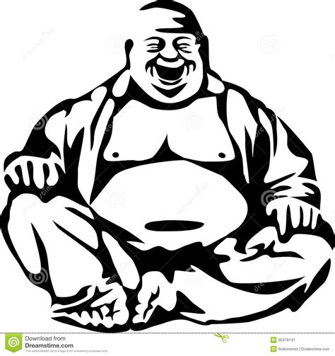 buddha stock vector illustration of laughing asian