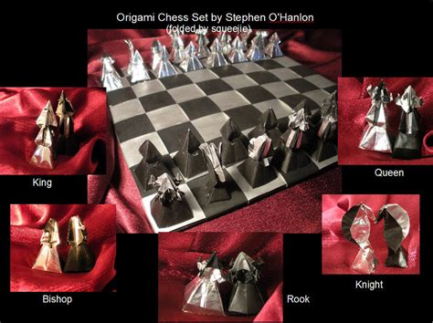 How To Make Origami Chess Pieces - origami chess set by squeejie on deviantart
