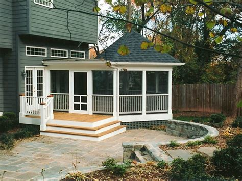 screened porch stairs and patio
