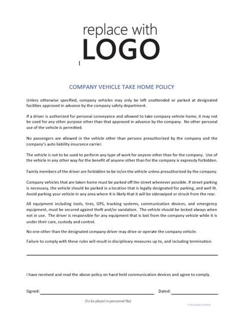 vehicle policy template company vehicle take home policy cr service company