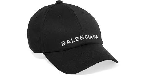 balenciaga embroidered cotton baseball cap in black lyst