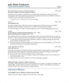 tv executive producer resume sles exles