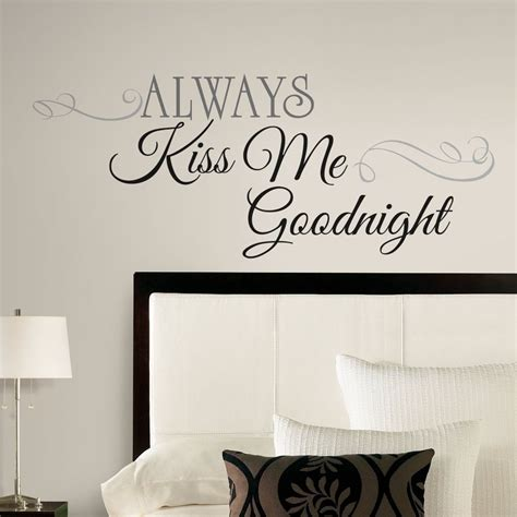wall decor for bedroom new large always kiss me goodnight wall decals bedroom