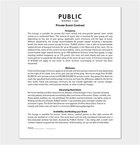 Event Contract Template 19 Sles Exles In Word Pdf Format Special Event Contract Template