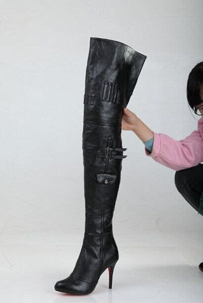high heel motorcycle boots sale black leather thigh high boots sole high