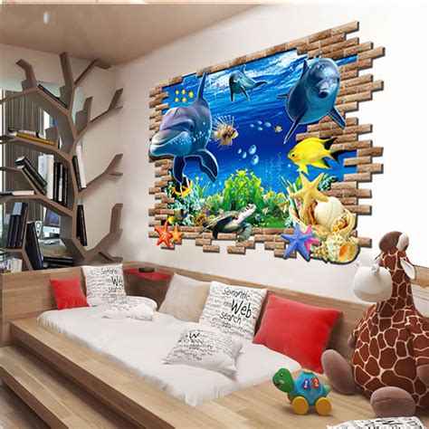 1000 images about wall paintings on pinterest house large 3d sea world dolphin wall sticker pvc decal home