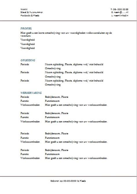 Cv Template Maken Voorbeeld Curriculum Vitae