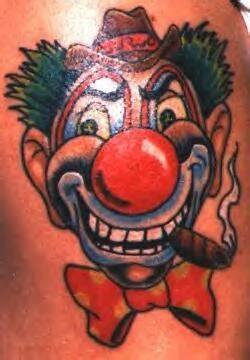 bad smoking clown tattoo in colour tattooimages biz