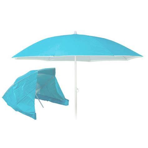 sombrilla de playa reclinable con cortavientos azul
