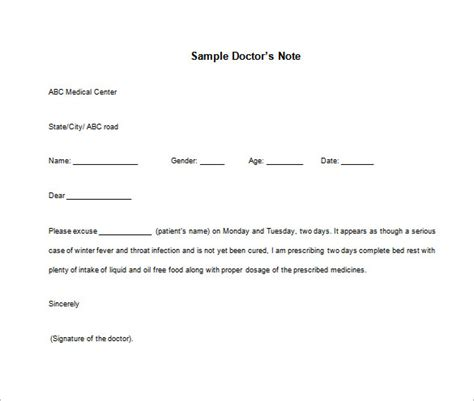 doctor note templates for work 8 free word excel pdf
