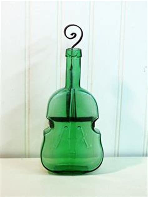 vintage 8 violin cello bass glass bottle cobalt blue
