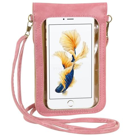pink flower mobile phone pouch cross shoulder