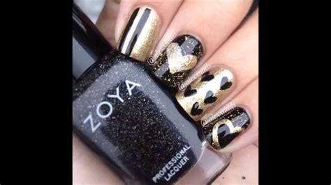 imagenes de uñas en negro con dorado hermosas u 241 as negras con dorado youtube