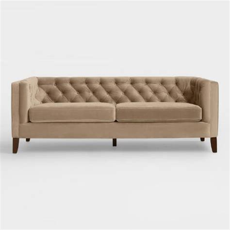 brown velvet kendall sofa world market