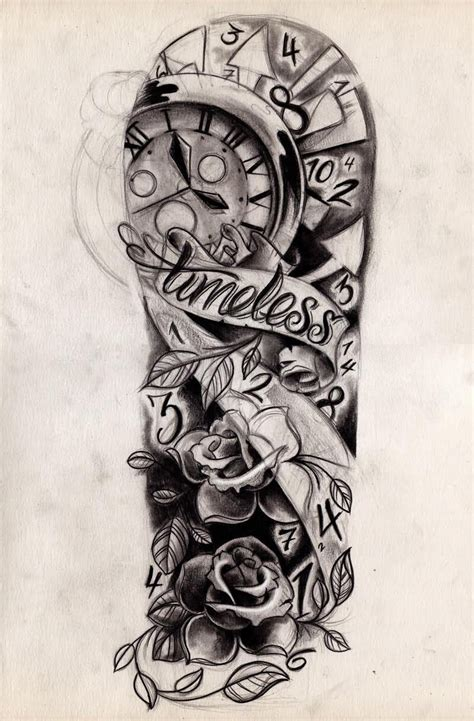 traditional rose flowers and clock tattoo design for half