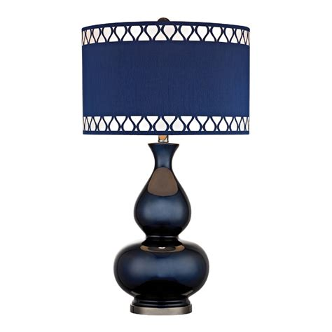 navy blue gourd table lamp with laser cut trim shade