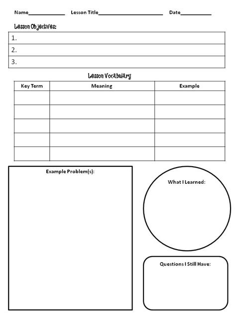 Notetaking Template the idea backpack bloglovin giveaway winners and thinking about math interactive notebooks