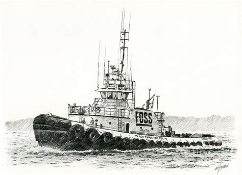 tugboat drawing tugboat daniel foss heading out drawing by james williamson