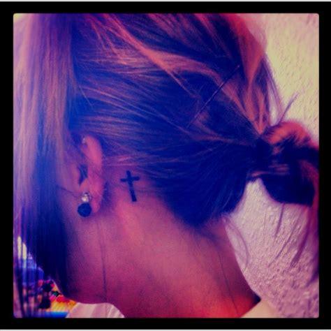 cross tattoos behind the ear