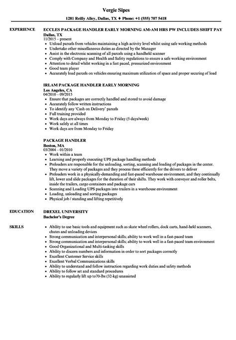 Package Handler Resume by Package Handler Resume Sles Velvet
