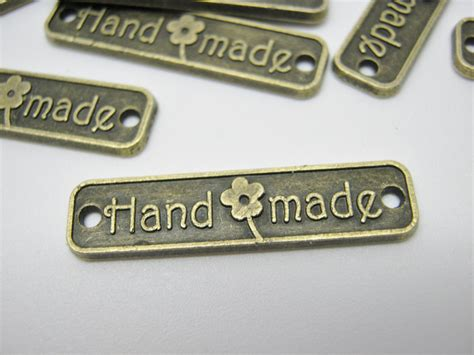 Tags Handmade - metal labels connectors handmade 25mm 1