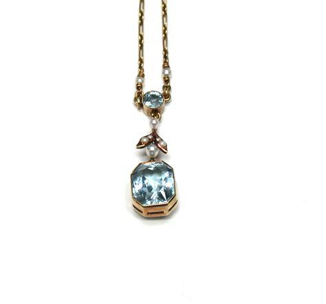 antique aquamarine seed pearl pendant necklace