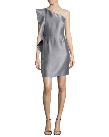 Gray Flounced Sleeved Strapless Dress heritage ruffle sleeve strapless dress