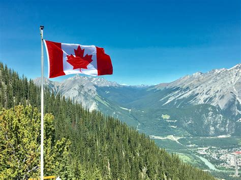 images of canada canada flag with mountain range view 183 free stock photo