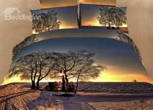beautiful country scene sunset print 4 piece bedding sets