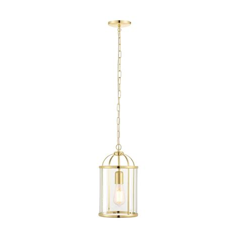 Single Pendant Ceiling Lights Endon Lighting Lambeth Single Light Ceiling Pendant In Polished Brass Finish With Clear Glass