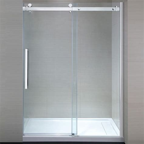 Showers With Sliding Doors Dreamline Charisma 56 In To 60 In X 76 In Frameless Sliding Shower Door In Chrome Shdr