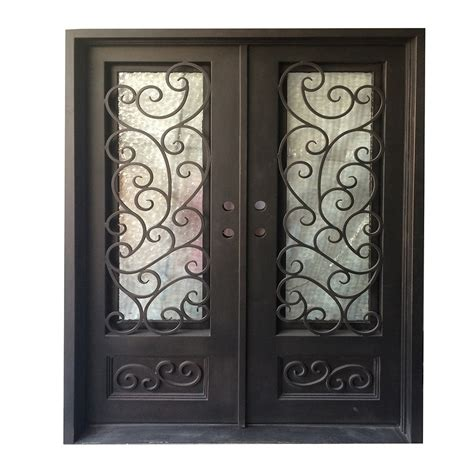 Glass And Iron Doors Grafton Exterior Wrought Iron Glass Doors Fern Collection Black Right Inswing 82 Quot X62 Quot Flat Top