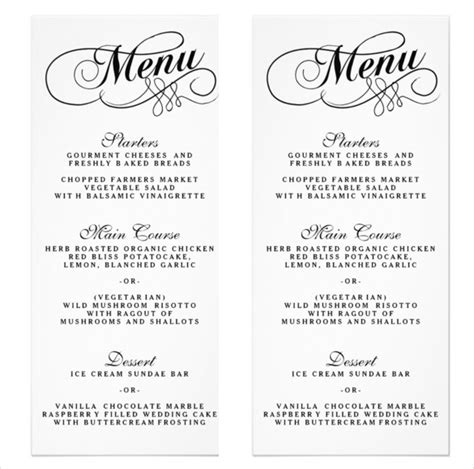wedding menu template 36 wedding menu templates free sle exle format