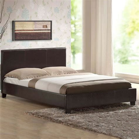 leather bed double king black brown white  memory foam