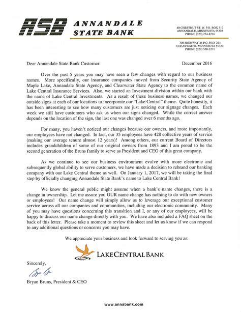 change letter page lake central bank