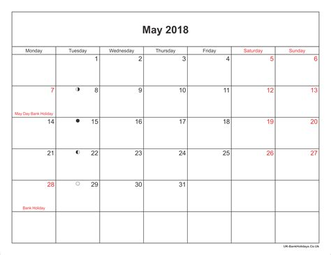 Calendar May 2018 May 2018 Calendar Printable With Bank Holidays Uk