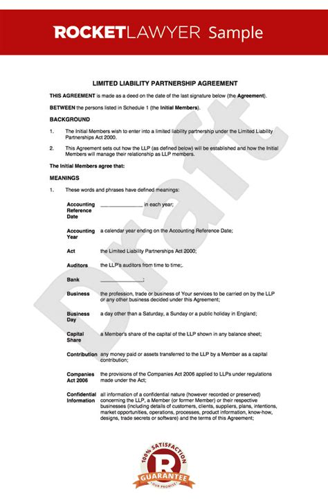 partnership agreement template uk llp agreement create a limited liability partnership