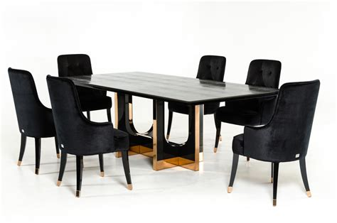 a x padua modern large black crocodile rosegold dining table