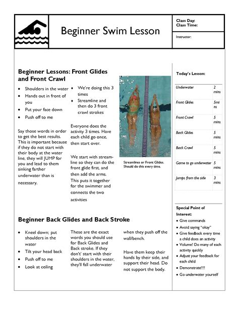 Swimming Lesson Plan Template swim lesson plan beginner lesson template swimming lessons ideas