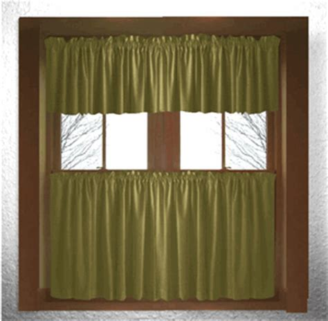 Solid Olive Green Kitchen Cafe Curtains