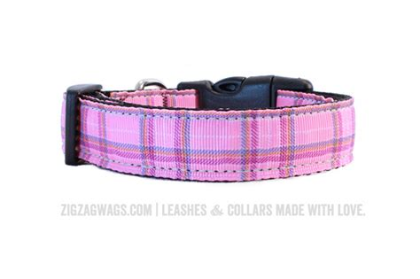 plaid collars pink plaid collar 187 zigzag wags