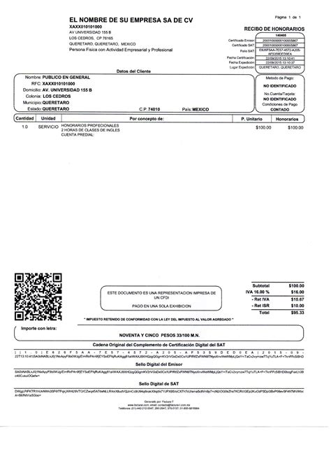 retencion del recibo por honorario 2016 recibo de honorarios factura t facturaci 243 n electr 243 nica