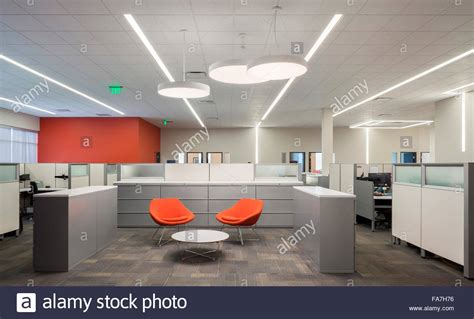 Cool Office Desk an open office space with creative lighting a lobby with