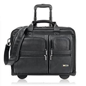 solo classic collection leather rolling laptop case