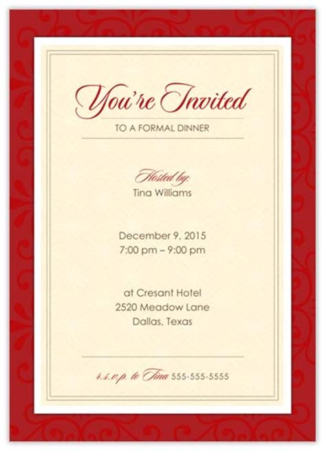 Formal Dinner Invitation Template Free formal dinner invitations from cardsdirect
